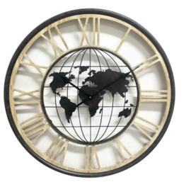 Klok met wereldbol - 70 cm