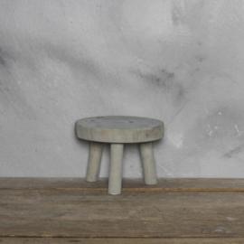 Houten kruk grijs 20.5 x 15 cm
