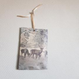 Wintertafereel met herten in bos || geurzak meander || cinnamon