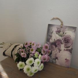 Decobordje bloemen ||  paars/wit/groen || met ophanglus