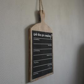 Plank krijtbord wat eten we vandaag