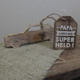 Houten label || Papa jij bent mijn superheld!