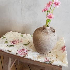 Tafelkleed vierkant || 110 cm || crème || bloemen roze