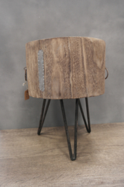 Paulownia wood stool with cover