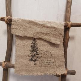 Shabbydoek naaldboom met opdruk