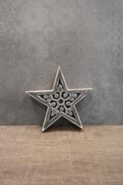 Ster met carving 15 cm grijs