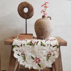 Tafelloper ovaal || 88 cm x 38 cm || crème || bloemen roze