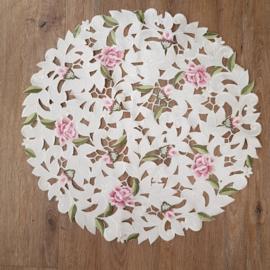 Kleed rond || 57 cm || crème || bloemen roze