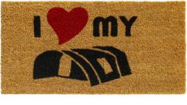 Vouwwagen - campingmat - ik hou van mijn vouwwagen