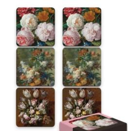 Doosje onderzetters thema bloemen (6 stuks)
