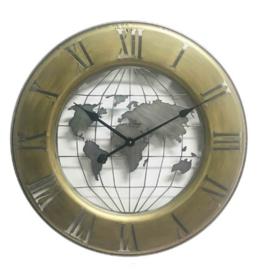 Gouden metalen wandklok globe