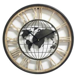 Houten klok met wereldbol - 47 cm