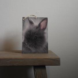 Deco bordje fluffie konijn || met ophanglus