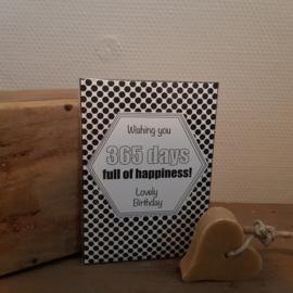 Geurkaart wishing jou 365 days full op happiness! Lovely birthday