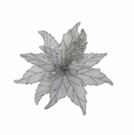 clip poinsettia zilver 30cm