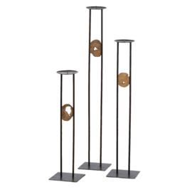 Metalen kandelaar 3-delig set met hout
