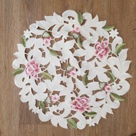 Kleed rond || 38 cm || crème || met roze bloemen