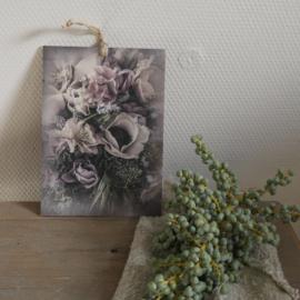 Decobordje bloemen paars/lila || met ophanglus