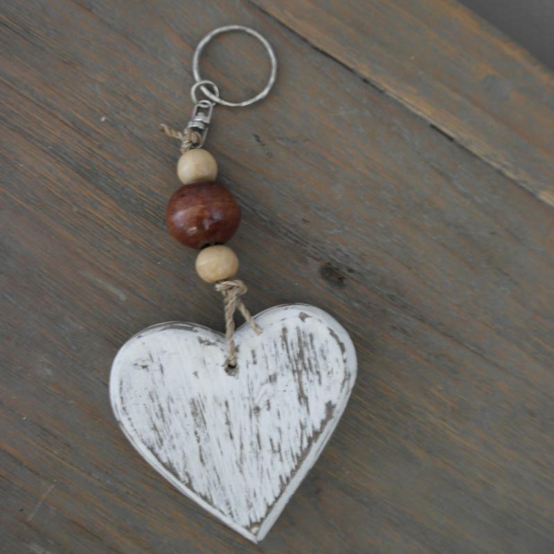 Sleutelhanger hart hout