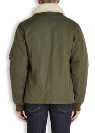 A.P.C. Green Hunter Shearling-Collar Bomber Jacket maat L
