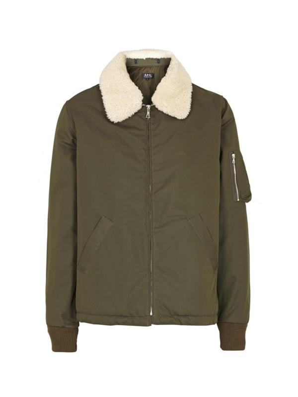 A.P.C. Green Hunter Shearling-Collar Bomber Jacket maat Large