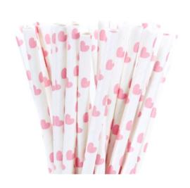 Roze hartjes - rietjes