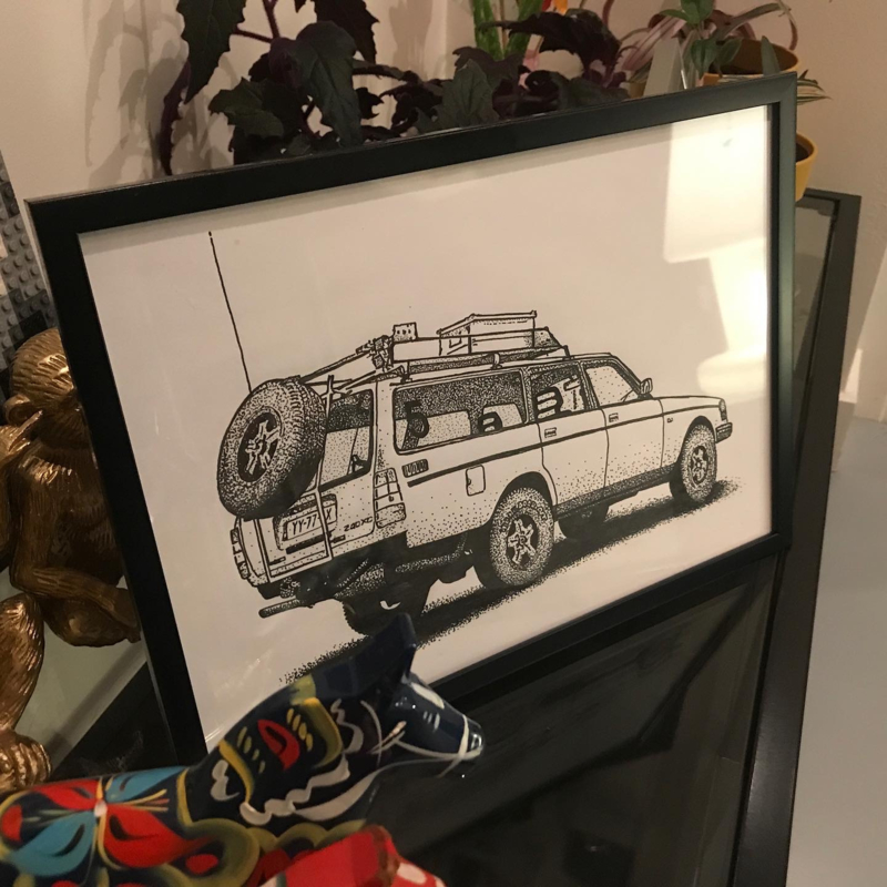Lifted Volvo 240 tekening