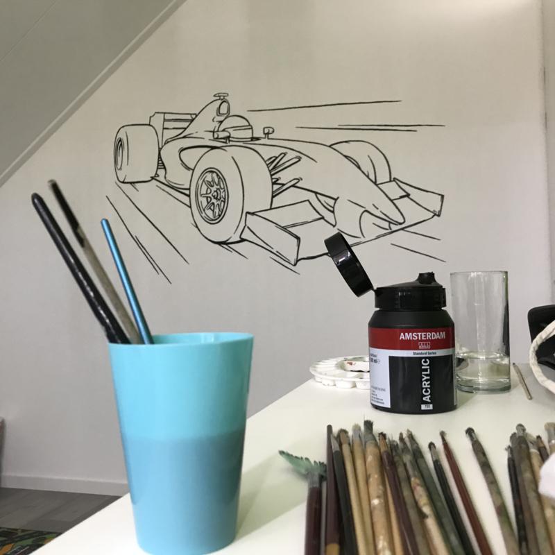 Muurtekening Formule 1 auto kinderkamer