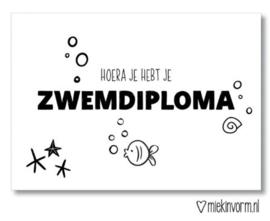 Miekinvorm | Hoera je hebt je zwemdiploma | Ansichtkaart