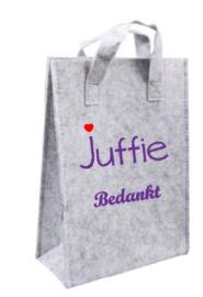 vilten tas voor Juf (23x10x33cm)