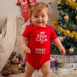 """Personaliseerbaar """"Keep calm…"""" Kerst baby romper"""