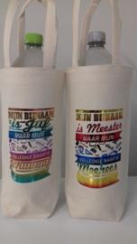 flessen tas katoen met opdruk juf/meester