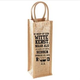 Shimmer jute bottle bag (fles geschenken tas) bedrukt