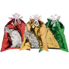 Grote 70x50 cm Pailletten kerst zak
