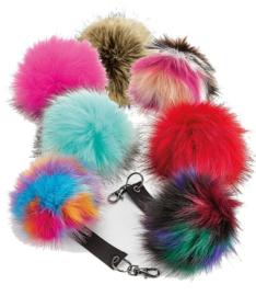 Fur pop pom keyring (sleutelhanger)