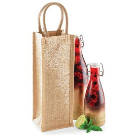 Shimmer jute bottle bag (wijnfles tas)