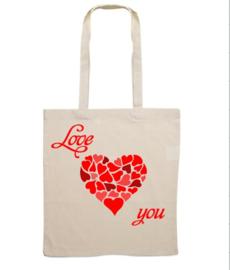 katoenen tas met opdruk (valentijn)