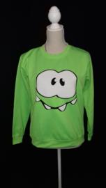 neon groen sweater met opdruk (kinder maat)