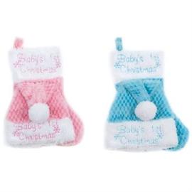 Baby 1e kerstmuts en sokje (set) in roze of blauw
