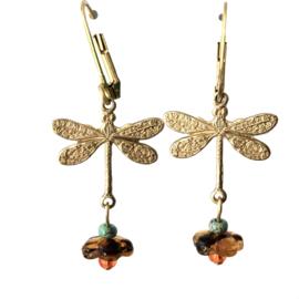 Oorbellen Dragonfly Cognac