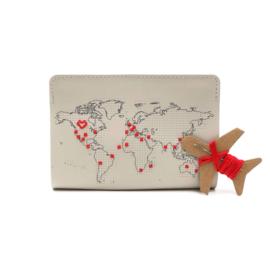 Paspoorthoesje Stitch Lichtgrijs Vegan