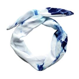 Haarband Tie Dye Wit Blauw