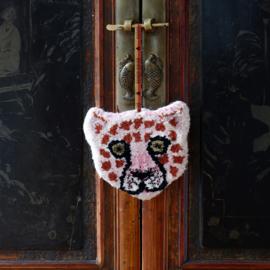 Pinky Luipaard Dierenkop Hanger Wol