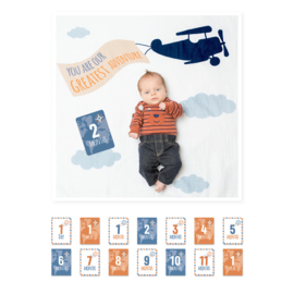 Lulujo Baby's First Year Swaddle & Cards - Greatest Adventure