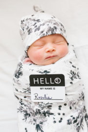 Lulujo Hello World Swaddle & Hat - Black Floral