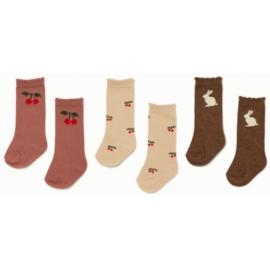Konges Slojd  3 pack jacquard socks // Cherry bunny