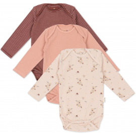 Konges Slojd set van 3 body's // Nostalgie-Striped-Blush