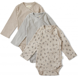 Konges Slojd Set van 3 Newborn body's // Petit amours Striped Blue