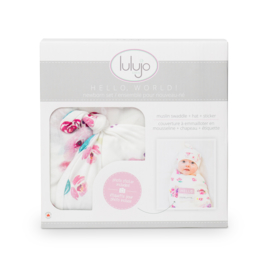 Lulujo Hello World Swaddle & Hat - Posies