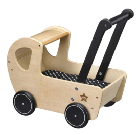 Kid's concept poppenwagen met bedset hout NEO